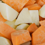 Chopped sweet and white potatoes