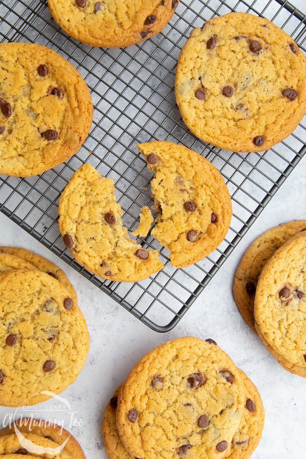 A selection of large dairy free chocolate chip cookies