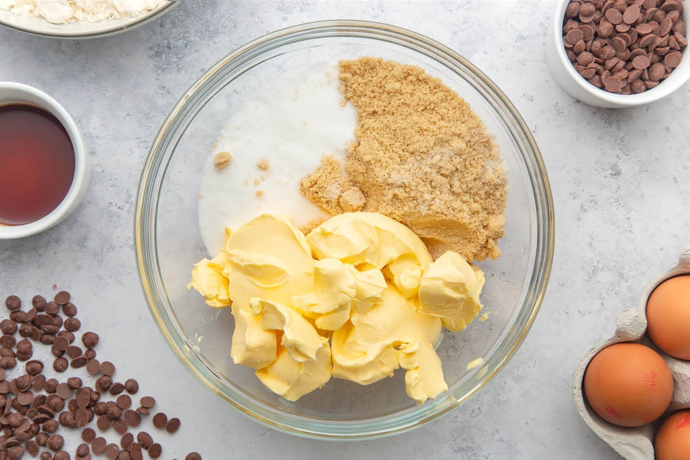 Margarine and sugar poured into a bowl ready for our dairy free chocolate chip cookies