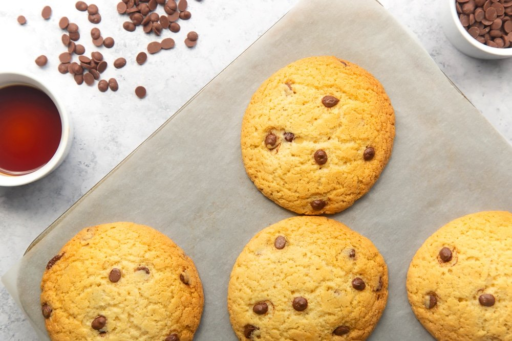 Baked dairy free chocolate chip cookies