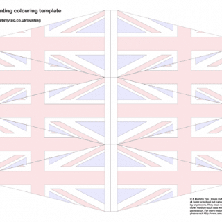 Colour and cut out Union Jack bunting template