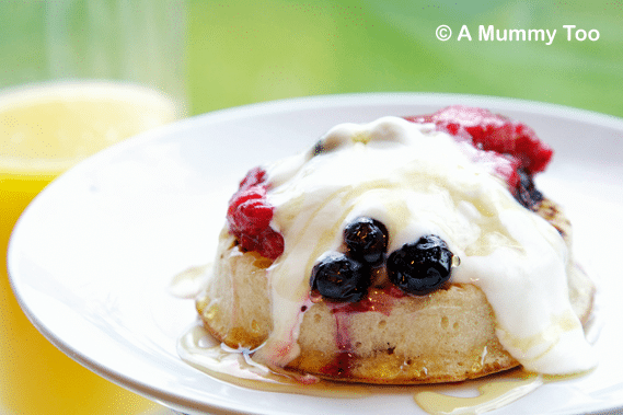 Crisp crumpets, topped with summer fruit compote and fresh yoghurt.