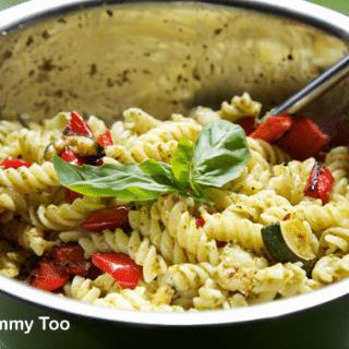 Roast vegetable pesto pasta salad