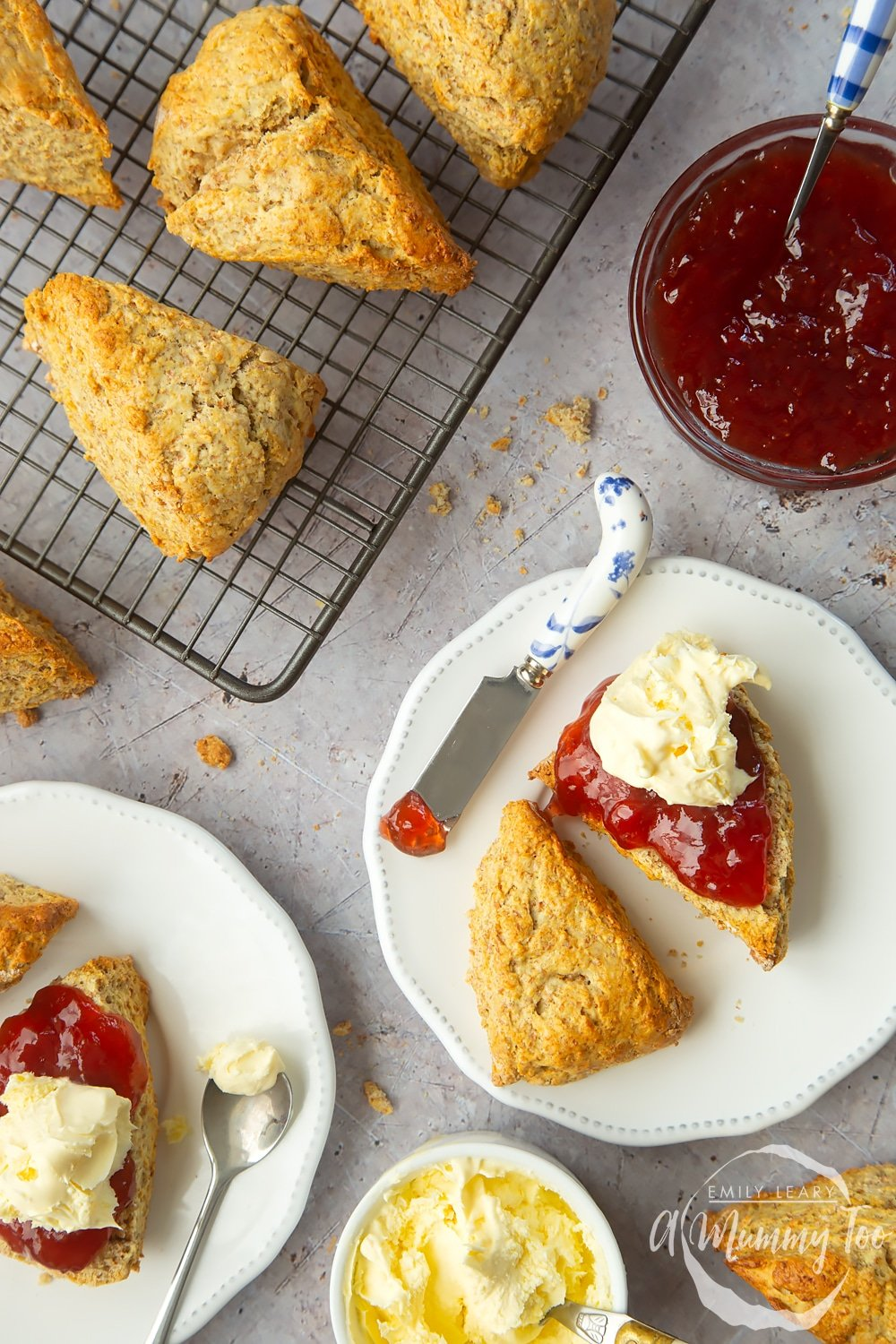 50/50 scones served with jam and clotted cream