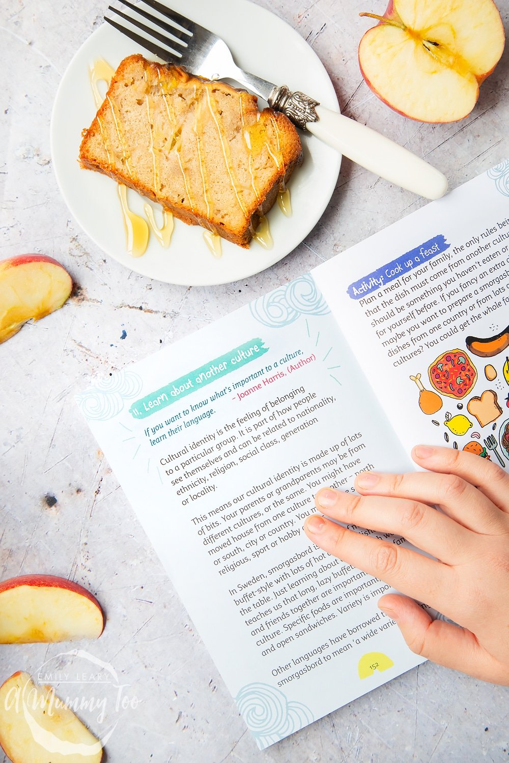 Reading Create Your Own Happy with a slice of apple, cinnamon and honey cake