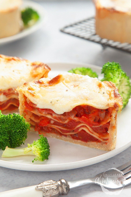 Vegetarian lasagne pies - shown sliced