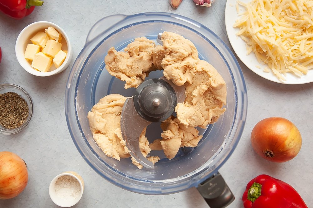 Preparing the lasagne pie pastry mix in a food processor