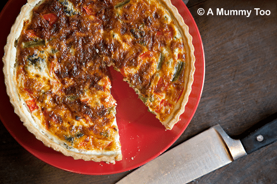 Asparagus, broccoli and red pepper quiche