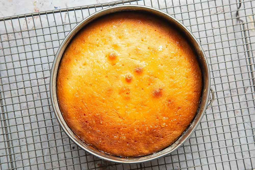Lemon drizzle cake in a springform tin