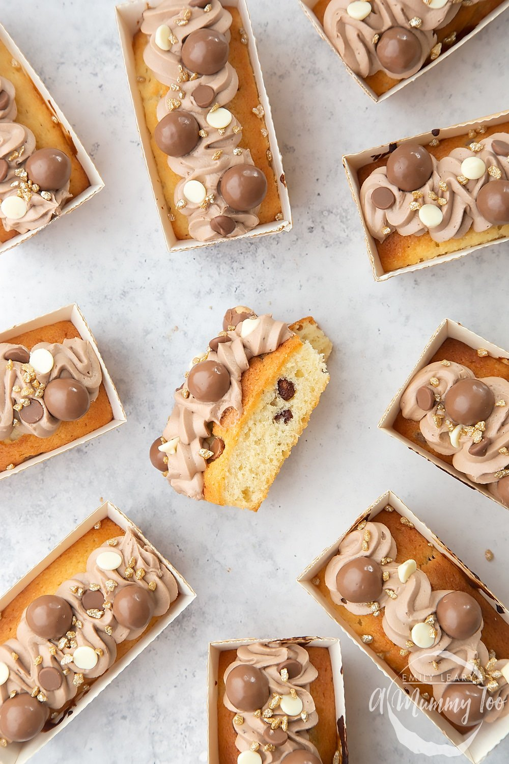 Chocolate chip mini-loaves with chocolate frosting