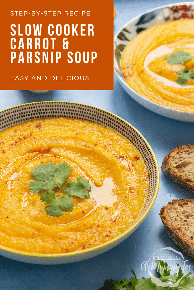 Two decorative bowls filled with carrot and parsnip soup on a blue background. At the top left of the image there's some text describing the image for Pinterest.