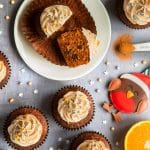 Christmas pudding muffins with spiced rum frosting