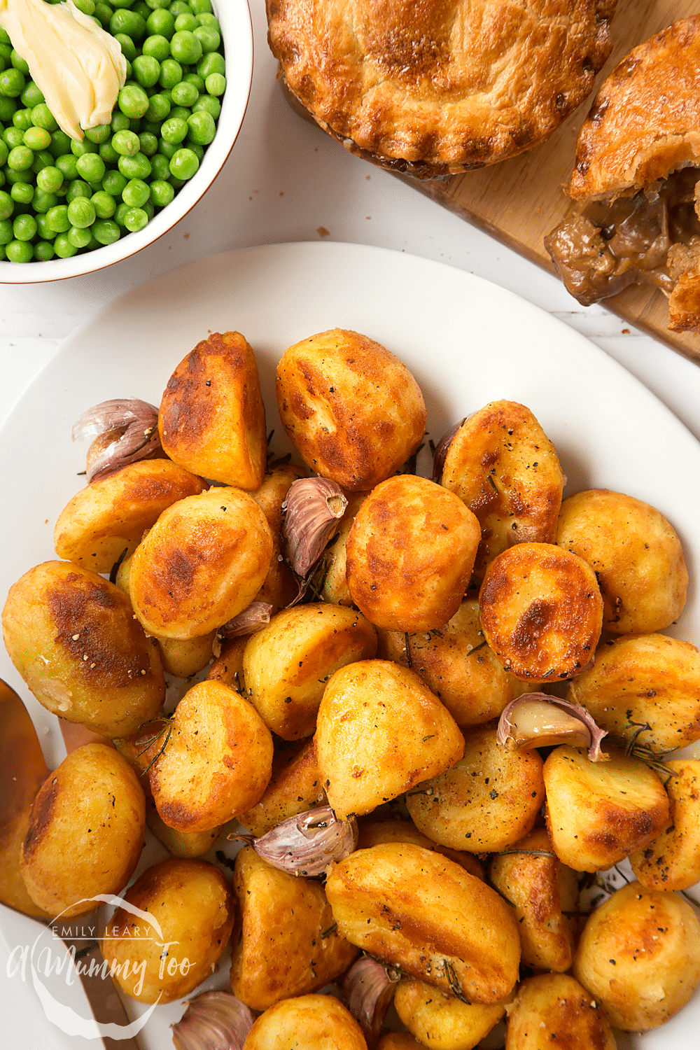Completed how to make frozen roast potatoes taste better served alongside some peas and pies.