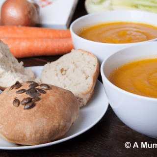 Butternut squash slow cooked soup with crusty thyme and pumpkin seed rolls (recipe)
