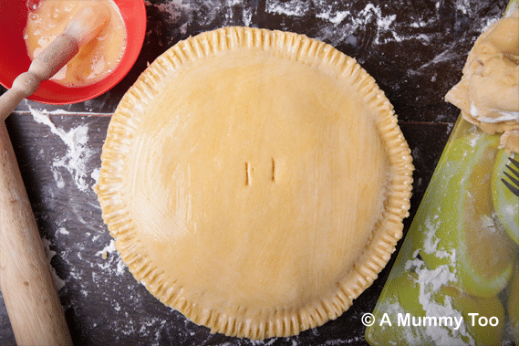 Cornmeal pastry lentil pie