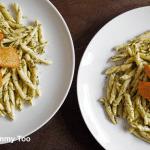 Fresh strozzapreti pesto pasta with roast sweet potato and butternut squash