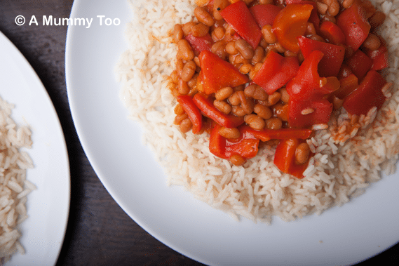 Haricot bean and red pepper 5 minute chilli