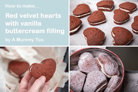 Red velvet hearts with buttercream frosting