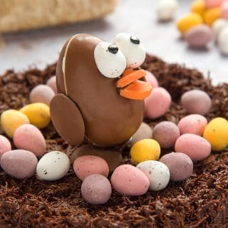 Easter chocolate egg chick in a wheaty chocolate nest