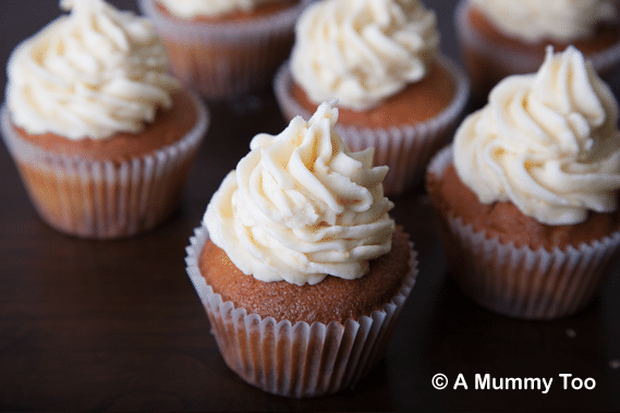 Fudge chip muffins with honeycomb frosting