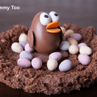 Easter chocolate craft: Kinder egg chick in a wheaty chocolate nest