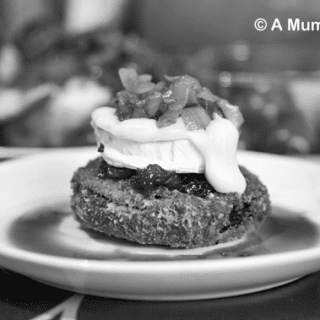 Parmesan crusted aubergine with goats cheese, cranberries and caramelised onions (vegetarian recipe)