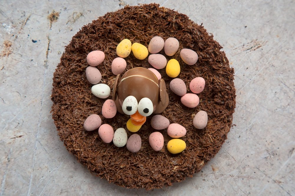Chocolate Easter egg chick surrounded by mini eggs in a chocolate shredded wheat nest
