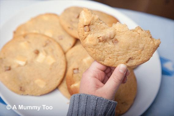 Fudge and white choc chip cookies