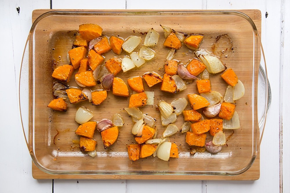 roasted butternut squash soup ingredients after being roasted for 40 minutes.