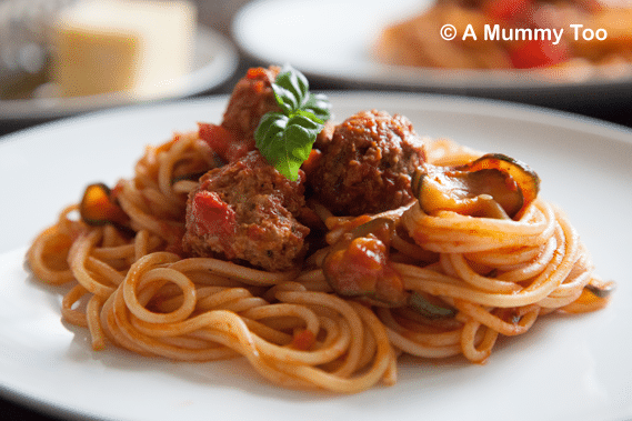 veggie spaghetti and veggie meatballs