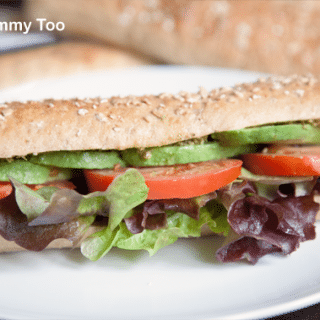 Simple, delicious avocado tomato sub sandwich