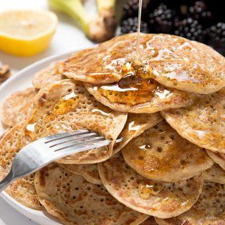 Vegan breakfast mini pancake stack