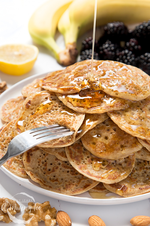 Vegan pancake stack topped with syrup