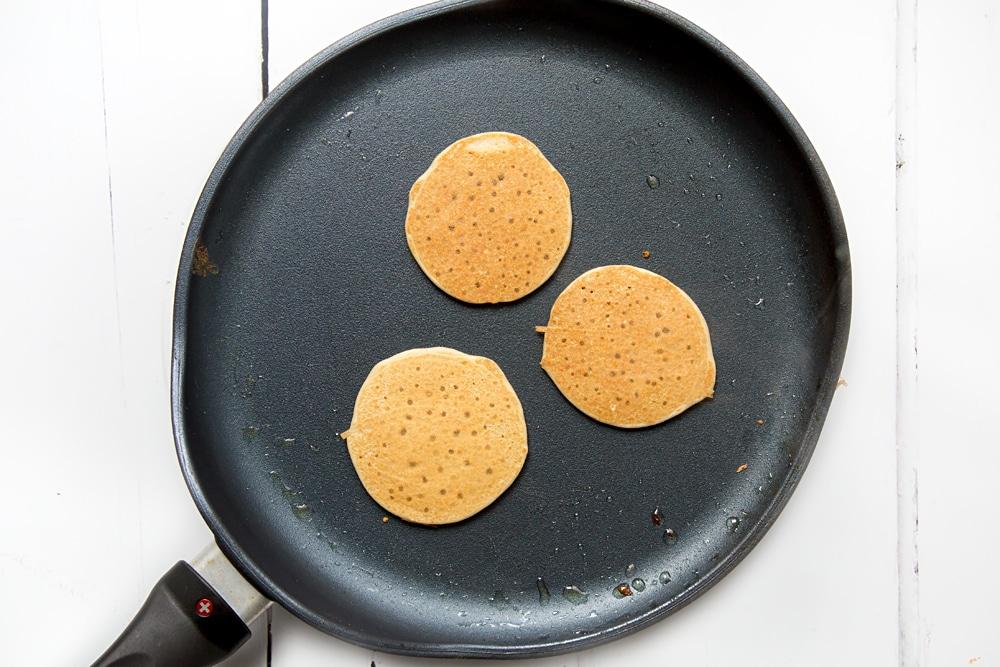 Frying mini vegan pancakes