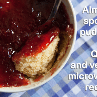 Almond sponge pudding (vegan microwave recipe) + #recipeoftheweek 11 May