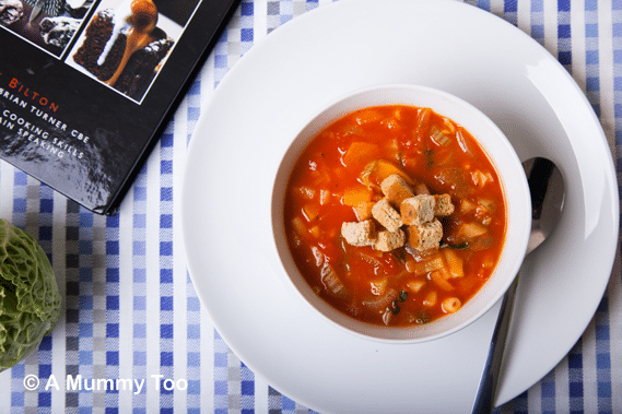 A bowl of low fat minestrone soup