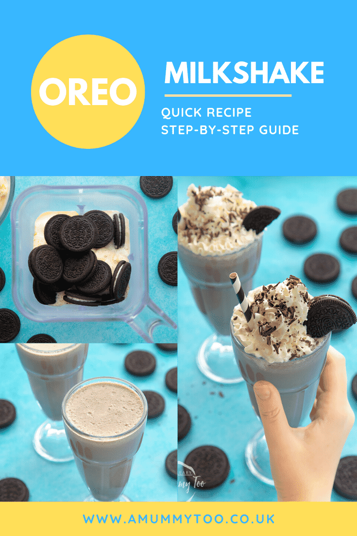 Three images show the process of making an oreo milkshake. At the top of the image there's some text describing the image for Pinterest.