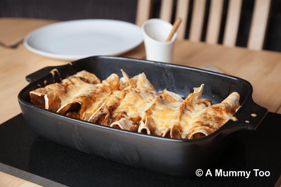 Cinnamon vegetarian enchiladas in a baking tray