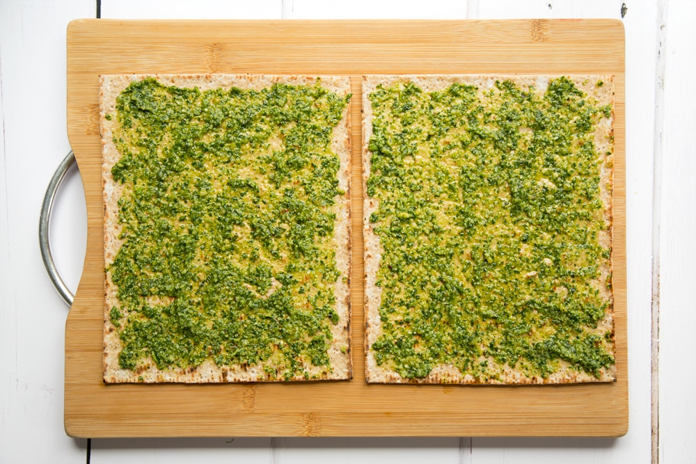 Flatbreads topped with pesto