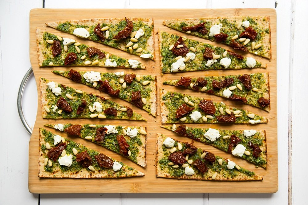 Slice your pesto flatbread pizzas into triangles
