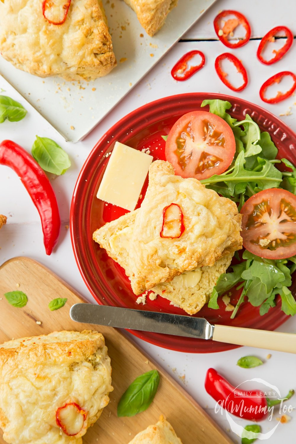 Chilli cheese savoury scones served with a side salad of lettuce and tomatoes