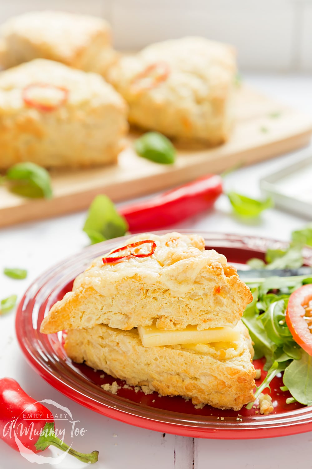 Chilli cheese savoury scones served with a side salad