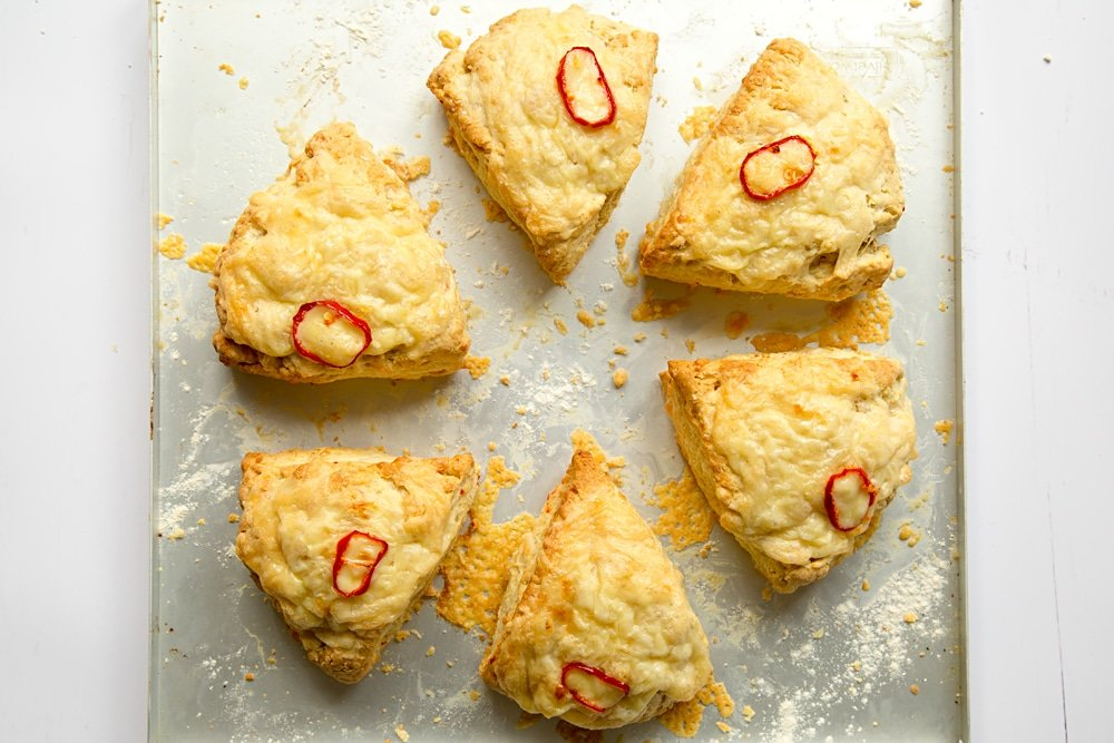 Baked chilli cheese savoury scones until golden brown