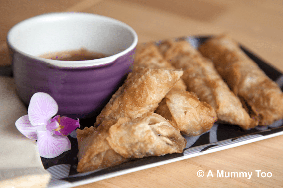 Banana chocolate spring rolls, served with a dipping sauce