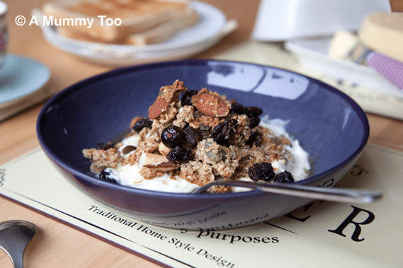 Homemade granola recipe featuring a crunchy, delicious, seed, nut and fruit-rich granola, sweetened with honey and maple syrup.