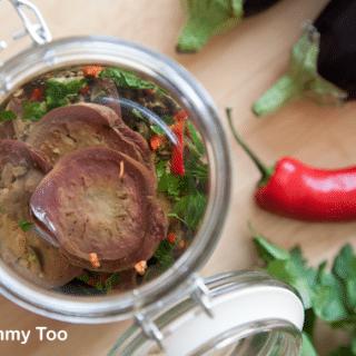Chilli and coriander preserved aubergines (a Jams cookbook recipe)