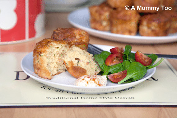 Savoury courgette and cheese muffins, served with a side salad