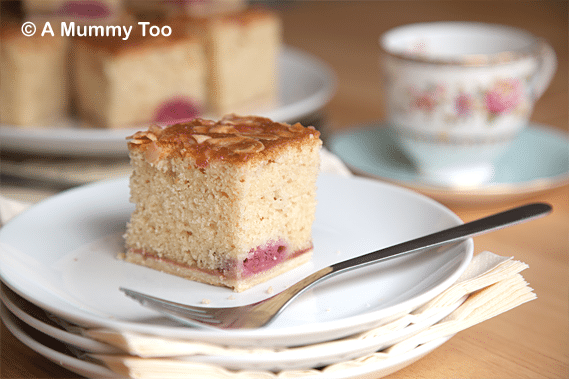 Buttery, moreish raspberry bakewell slice tray bake