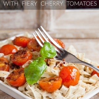 Basil tagliatelle with fiery cherry tomatoes
