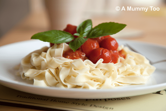 Fresh homemade pasta topped with cherry tomatoes